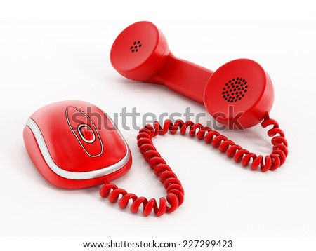 Phone receiver attached to mouse. - stock photo