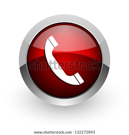 phone red circle web glossy icon - stock photo