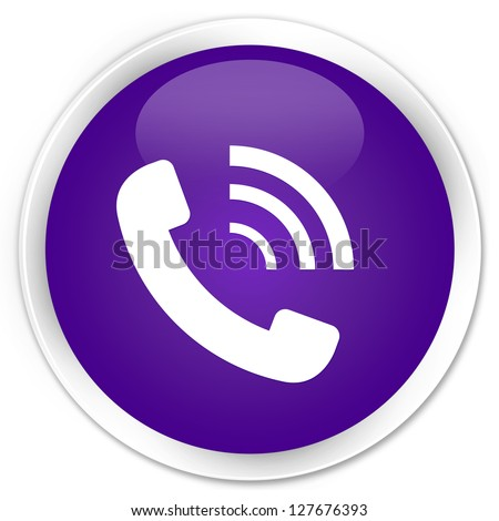 Phone ringing icon purple button - stock photo