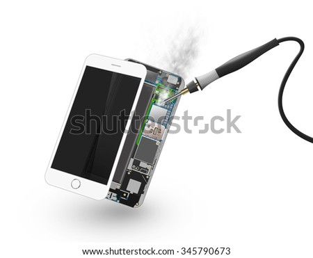 Phone soldering isolated, chip, motherboard, processor, cpu and details. Smartphone soldering iron. Cellphone solder smoke. Telephone pcb, rom data. Broken device mending. Motherboard disassembled. - stock photo