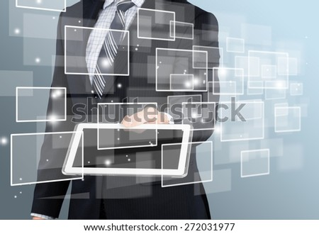 Phone. Technology in business hand - stock photo