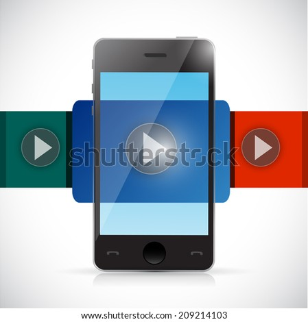 phone video display illustration design over a white background - stock photo