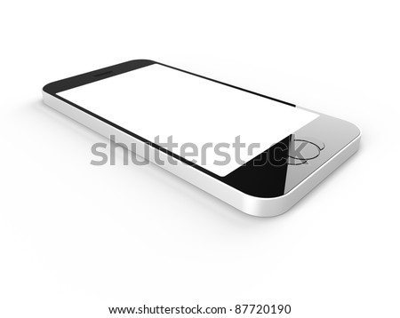 Phone with blank on white background - stock photo