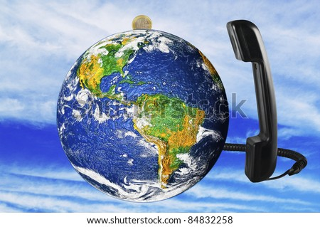 phone with Earth globe close up - stock photo