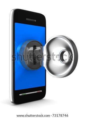 phone with key on white background. Isolated 3D image - stock photo