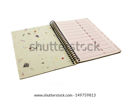 Phonebook made ??of recycled paper isolated on a white background - stock photo
