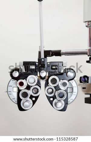 Phoropter optical device for measuring the vision of human eye - stock photo