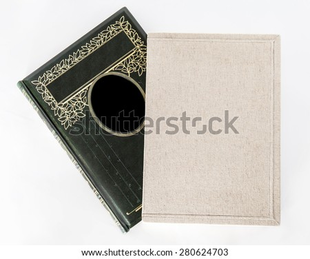 photo album, diary, book on white background - stock photo