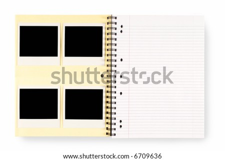 Photo album with several blank polaroid style instant camera photo prints and empty page isolated on a white background.  Space for copy. - stock photo