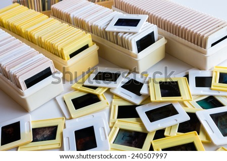 Photo archive of 35mm film slides - stock photo