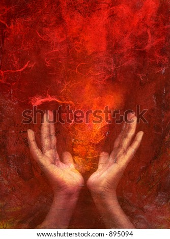 """Photo based mixed medium images of hands with red """"fire"""". Extreme texture and grain added. - stock photo"""