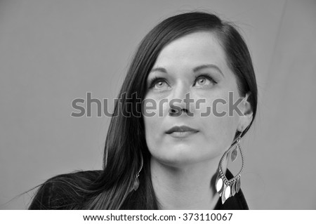 photo black and white beautiful 20 something year old female portrait - stock photo