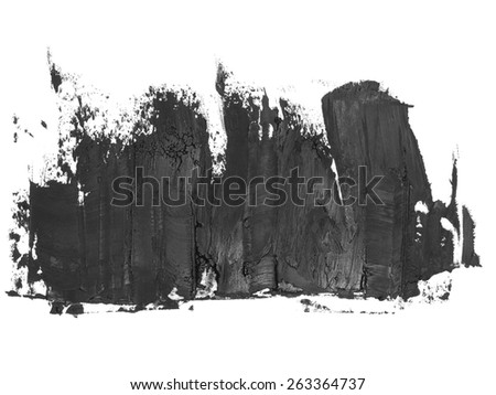 photo black grunge brush strokes oil paint isolated on white background - stock photo
