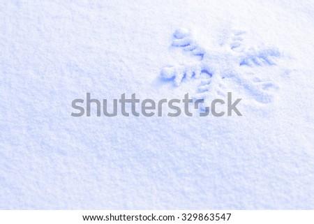 Photo blue snow and snowflakes - stock photo