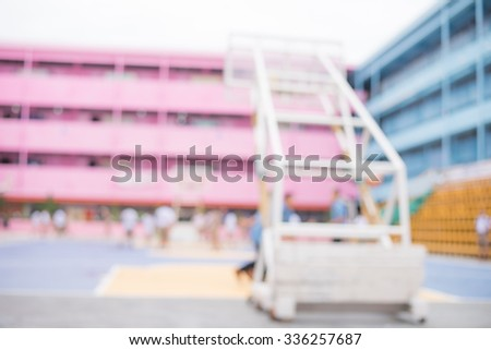 photo blur of student playing sports in school - stock photo