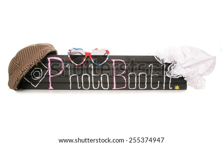 Photo booth sign with fancy dress hats cutout - stock photo