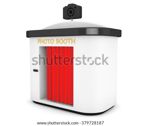 Photo Booth with Red Curtain on a white background - stock photo
