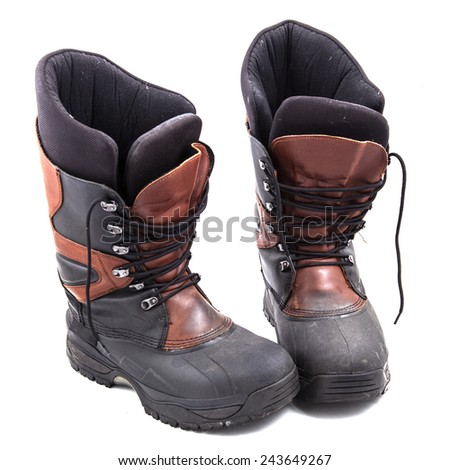 Photo boots on a white background - stock photo
