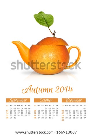 Photo calendar with concept orange teapot. Autumn 2014. - stock photo