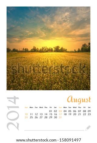 Photo calendar with minimalist landscape 2014. August. Version 2 - stock photo