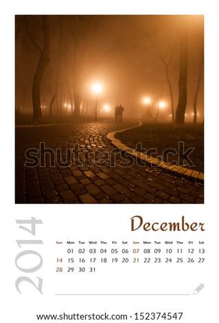 Photo calendar with minimalist landscape 2014. December - stock photo