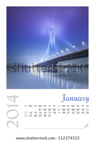 Photo calendar with minimalist landscape 2014. January - stock photo