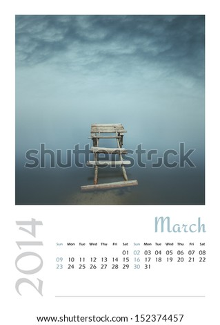 Photo calendar with minimalist landscape 2014. March - stock photo