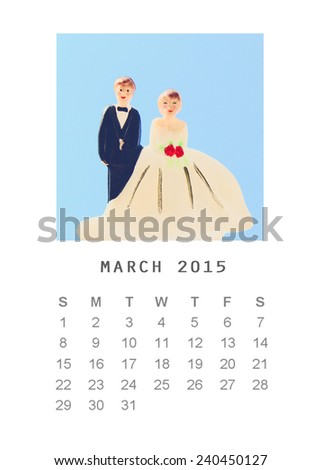 Photo calendar with retro image style 2015, March - stock photo