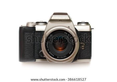 Photo camera isolated. Element of design. - stock photo