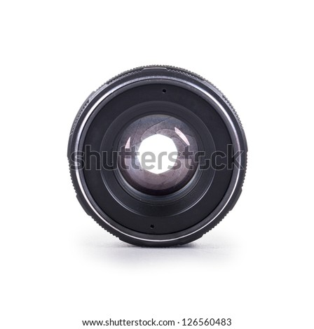 Photo camera lens front view over white background - stock photo