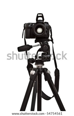 photo camera on tripod, front view - stock photo