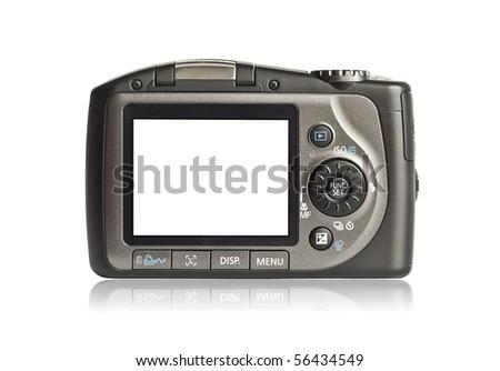 Photo camera on white background - stock photo