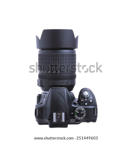 photo camera top view isolated on white - stock photo