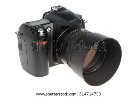 Photo camera with money on white background - stock photo