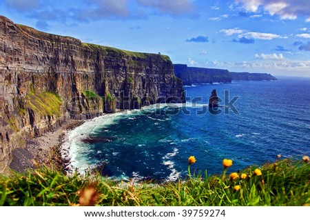 photo capture of a breathtaking natural nature landscape. cliffs of moher, wild atlantic way - stock photo