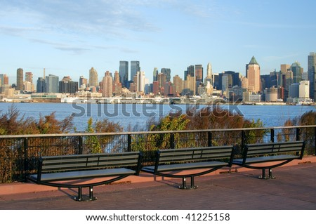 photo capture of new york city skyline at afternoon - stock photo