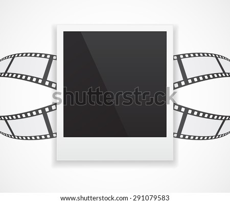 photo card frame on abstract film roll 3d background - stock photo