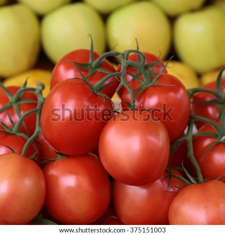Photo closeup many clean organic fresh tasty ripe red tomatoes crop fruit full of vitamin for healthy eating diet ball form for sale on apple background, square picture - stock photo