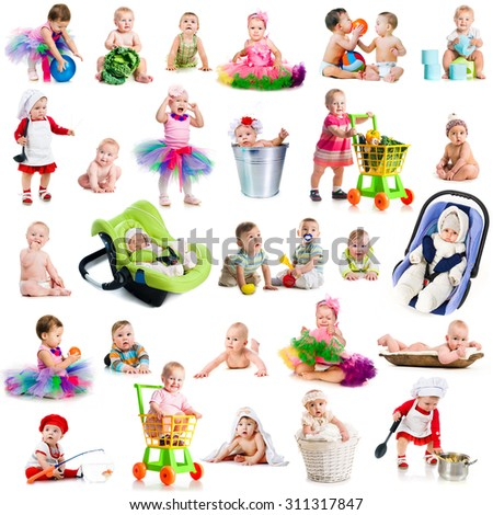 photo collage babies with toys on a white background - stock photo