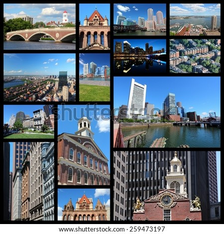 Photo collage from Boston, United States. Collage includes major landmarks like State House, city skyline and Harvard University. - stock photo