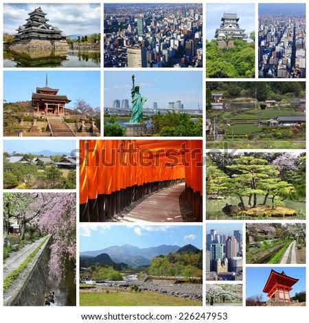 Photo collage from Japan. Collage includes major landmarks like Tokyo, Kyoto, Nagoya, Osaka, Matsumoto, Inuyama, Hirosaki and Nikko. - stock photo