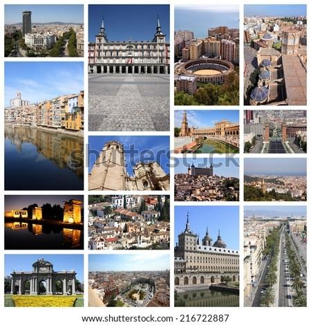 Photo collage from Spain. Collage includes major landmarks like Barcelona, Madrid, Valencia, Malaga, Toledo and Girona. - stock photo