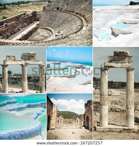 photo collage geothermal springs of Pamukkale and Hierapolis ruins - stock photo