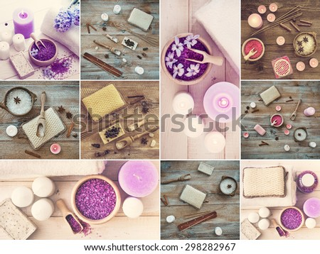 Photo collage of bath accessories on wooden table - stock photo