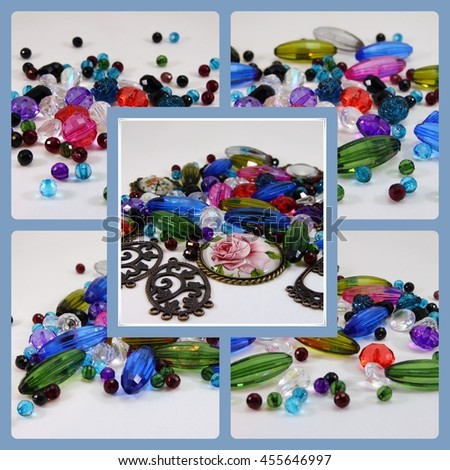 photo collage of beads - stock photo