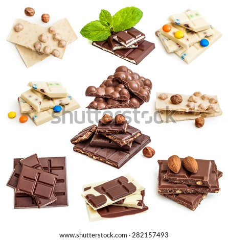 Photo collage of chocolate bars isolated on a white background - stock photo