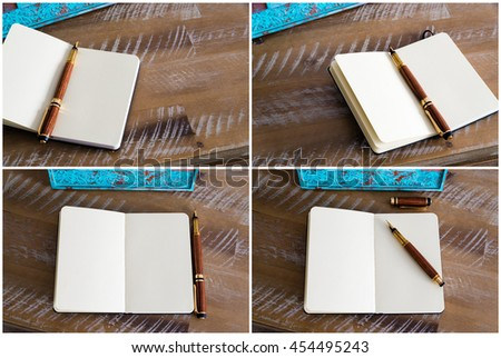 Photo Collage of classic fountain pen and open notebook on wooden table, copy space available - stock photo