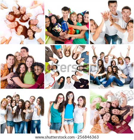 Photo collage of happy people, friends, fun, holiday, good mood - stock photo