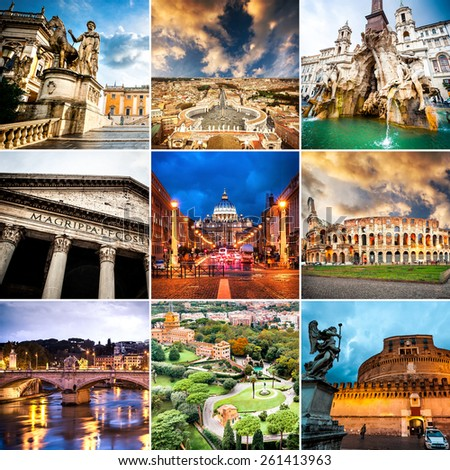 photo collage of historical views of Rome - stock photo