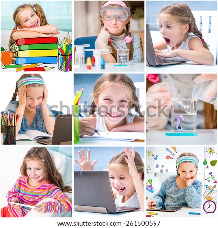 photo collage of  little girl draws and makes chemical experiments - stock photo